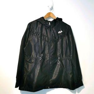 Fila XL black hoodie windbreaker jacket